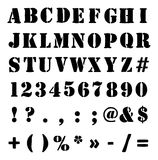 Army Or Crate Stencil Alphabet, Numbers And Symbols Royalty Free Stock Photo