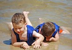 Army crawl on the beach Royalty Free Stock Photos