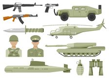 Army Decorative Flat Icons Set Stock Images