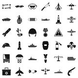 Army depot icons set, simple style. Army depot icons set. Simple set of 36 army depot vector icons for web isolated on white background Royalty Free Stock Image