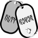 Army dog tag with hole. Royalty Free Stock Photography