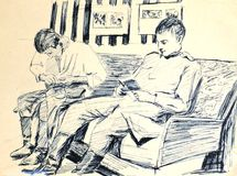 Army drawing.1966-1968years.in the Lenin's room. Two soldiers evening in  the Lening's room.drawing Royalty Free Stock Images