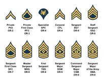 Army enlisted rank insignia. Vector complete collection of army enlisted rank insignia isolated on white background, with descriptions. Eps file available Royalty Free Stock Photo