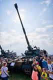 Army exhibition on Radom Airshow, Poland. Radom, Poland - August 26, 2017: Army exhibition on Airshow Radom. One of most famous aviation events in central Europe royalty free stock images
