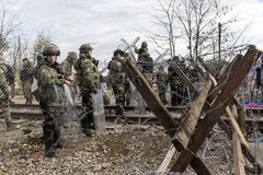 The army of F.Y.R. of Macedonia continues the fence construction Royalty Free Stock Photography