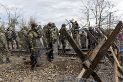 The army of F.Y.R. of Macedonia continues the fence construction Stock Photo