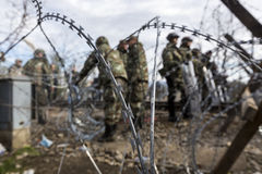 The army of F.Y.R. of Macedonia continues the fence construction Stock Photography
