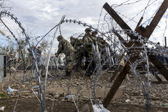 The army of F.Y.R. of Macedonia continues the fence construction Royalty Free Stock Image
