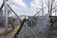 The army of F.Y.R. of Macedonia continues the fence construction Stock Image
