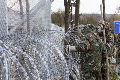 The army of F.Y.R. of Macedonia continues the fence construction Royalty Free Stock Photo
