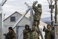 The army of F.Y.R. of Macedonia continues the fence construction Stock Images