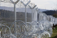 The army of F.Y.R. of Macedonia continues the fence construction Royalty Free Stock Images