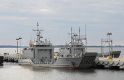 Army Ferry Boats. US Army ferry boats docked on the river Royalty Free Stock Photography