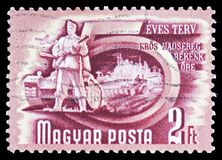 Army, Five-Year Plan serie, circa 1950. MOSCOW, RUSSIA - FEBRUARY 10, 2019: A stamp printed in Hungary shows Army, Five-Year Plan serie, circa 1950 stock photography