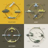 Army Flat Set. Army design concept set with weaponry air force artillery flat icons isolated vector illustration Stock Photography
