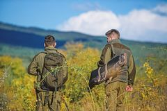 Army forces. Camouflage. Military uniform fashion. Hunting skills and weapon equipment. How turn hunting into hobby. Man royalty free stock photos