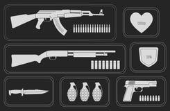 Army game resource set. Monochrome Stock Photos
