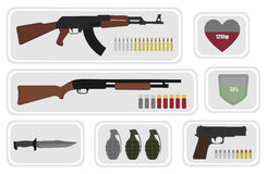 Army game resource set. No outline. Army game resource set. Military soldier inventory: assault rifle, health bar, shotgun, shield bar, combat knife, grenade Royalty Free Stock Photography