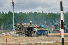 Army Games-2017. Safe Route contest. Tyumen.Russia. Tyumen, Russia - August 6, 2017: International Army Games. Safe Route contest. Motion of the mechanized Stock Photo