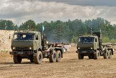 Army Games-2017. Safe Route contest. Tyumen.Russia. Tyumen, Russia - August 6, 2017: International Army Games. Safe Route contest. Motion of military convoy Royalty Free Stock Photography