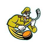 Army General Ice Hockey Sports Mascot. Mascot icon illustration of bust of a military army general holding an ice hockey stick viewed from front on isolated Stock Photo