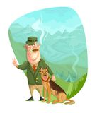 Army General. Illustration of army General with dog in vector Royalty Free Stock Image