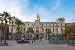 Army General Inspectorate, Barcelona. Barcelona, Spain - January 02 2017: View of the Palace of the Army General Inspectorate, located on the Passeig de Colom Royalty Free Stock Photos