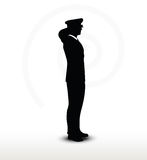 Army general silhouette with hand gesture saluting Stock Image