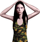 Army Girl. An vector army girl in a camouflage top Stock Photos