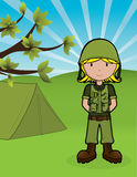 Army Girl. Cute girl in army outfit Stock Photo