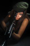 Army girl in beret Stock Photos