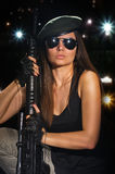Army girl in glasses in the night Royalty Free Stock Photography