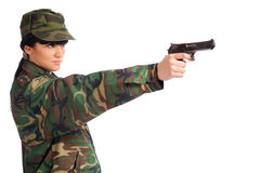 Army girl holding gun Royalty Free Stock Photos