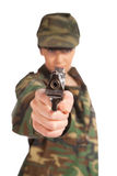 Army girl holding gun Stock Photography