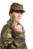 Army girl holding gun Stock Photo