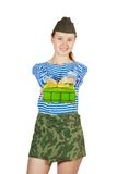 Army girl  with holiday gift Royalty Free Stock Photo