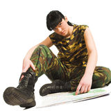 Army girl with map Royalty Free Stock Photos