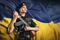 Army girl in military uniform Royalty Free Stock Image