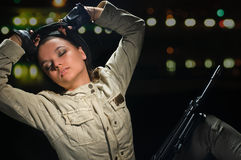 Army girl in night lights Stock Photo
