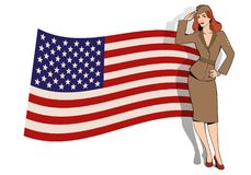Army girl in retro style wearing soldiers uniform from the 40s or 50s. Doing military salute and USA flag on the background vector illustration