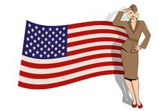 Army girl in retro style wearing soldiers uniform from the 40s or 50s. Doing military salute and USA flag on the background royalty free illustration