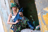Army girl with rifle Royalty Free Stock Photography