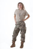 Army girl 11. Shot of a beautiful army girl. Uniform conforms to special services(soldiers) of the NATO countries. Shot in studio. Isolated on white stock photo