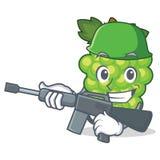 Army green grapes character cartoon vector illustration