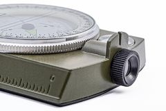 Army green Magnetic Compass isolation on white. Royalty Free Stock Image