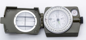 Army green Magnetic Compass on white Royalty Free Stock Photography