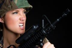 Army Gun Woman. Angry army woman holding gun Royalty Free Stock Photo