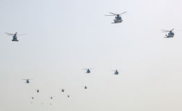 Army helicopters at the airshow. In Doha, Qatar, Middle East Royalty Free Stock Photo