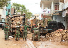 Army helping after floods Royalty Free Stock Photos