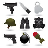 Army icons. Set of nine different army icons Stock Image